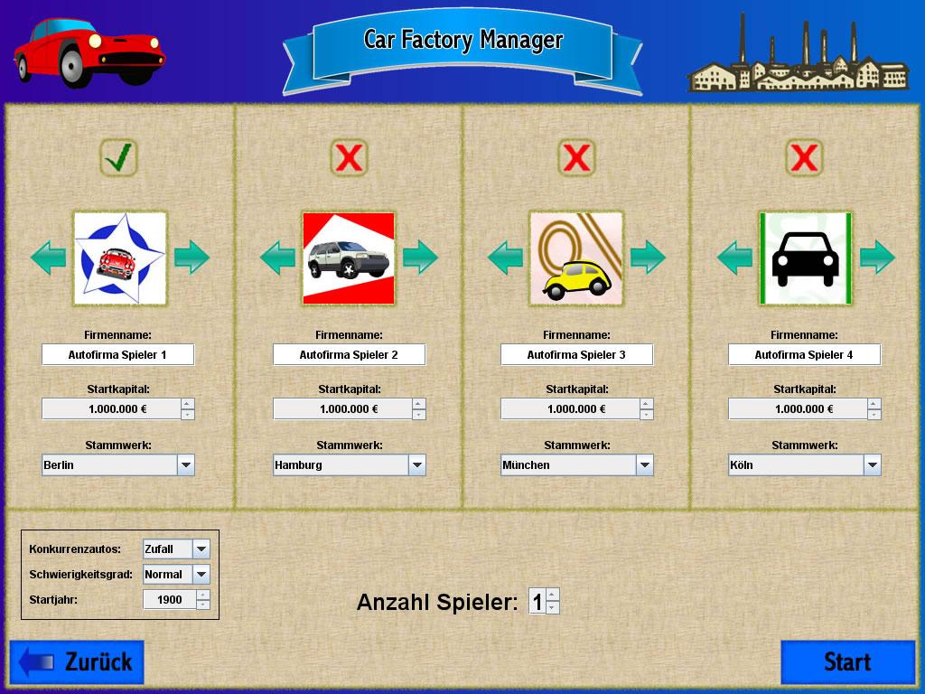 Screenshot vom Programm: Car Factory Manager